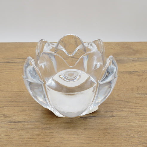 GLASS FLOWER TEA CANDLE HOLDER