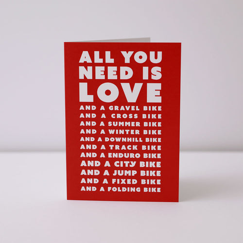 Cycling Valentines Card – All You Need Is Love (and bikes) – English Cyclist