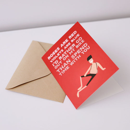 Roses are Red Greeting Card – Gifts for Cyclists by the English Cyclist