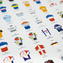 Load image into Gallery viewer, Tour de France Winners Jersey Poster – Cyclists Gift - English Cyclist
