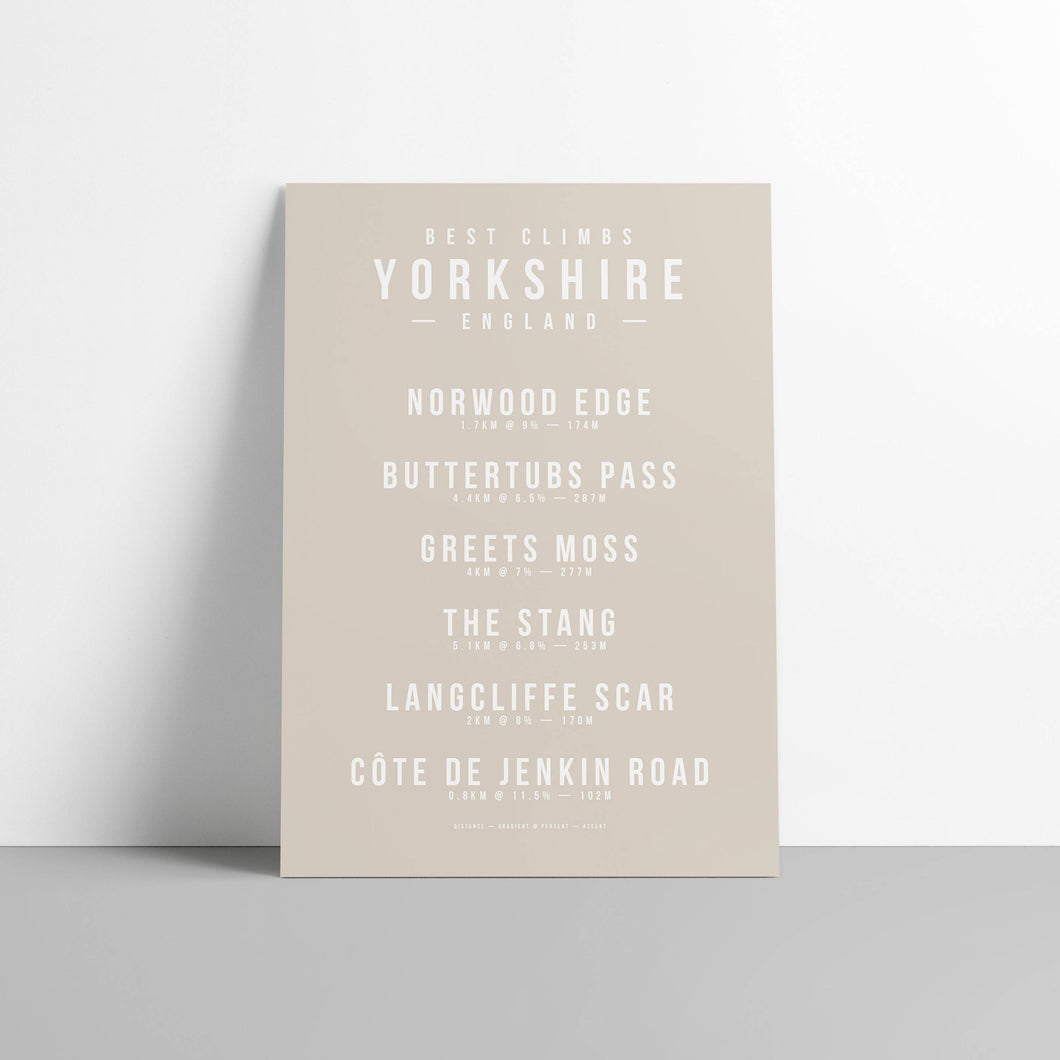 Climbs of Yorkshire, England Poster – Gifts for Cyclists by the English Cyclist