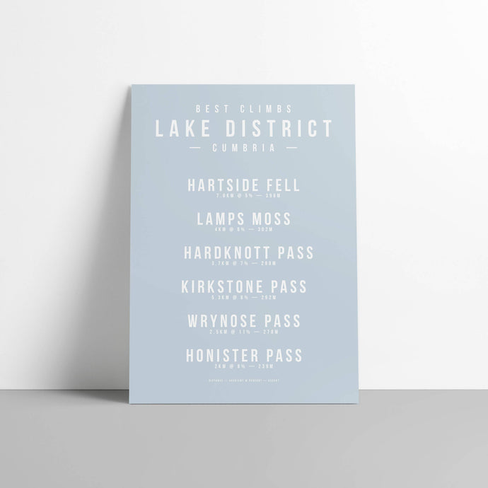 Climbs of the Lake District, Cumbria - Cycling Gift - The English Cyclist