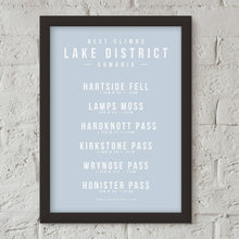 Load image into Gallery viewer, Climbs of the Lake District, Cumbria Poster – Gifts for Cyclists by the English Cyclist