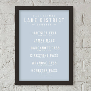 Climbs of the Lake District, Cumbria Poster – Gifts for Cyclists by the English Cyclist