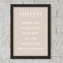 Load image into Gallery viewer, Climbs of Yorkshire, England Poster – Gifts for Cyclists by the English Cyclist