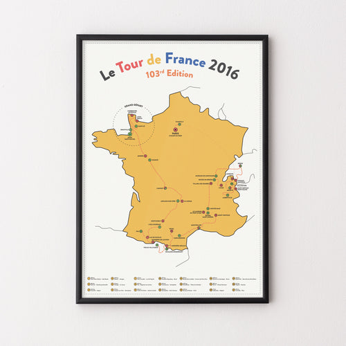 Tour de France 2016 Route Map Poster – Gifts for Cyclists by the English Cyclist