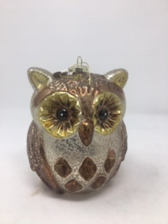 Owl Ornament Antiqued Large