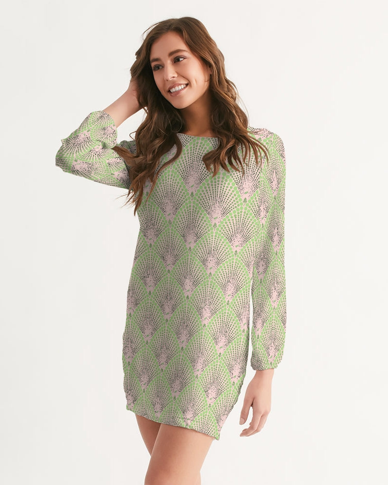 Deco Dots BLUSH Women's Long Sleeve Chiffon Dress