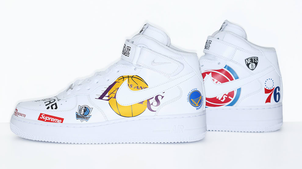 promo code b2491 da1f2 Nike Air Force 1 Mid Supreme NBA White