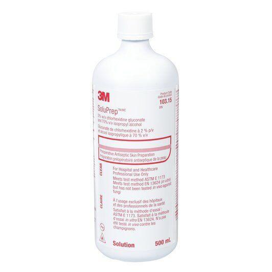LOW STOCK - 3M™ SoluPrep™ Solution (2% w/v chlorhexidine gluconate and 70% v/v isopropyl alcohol), 500 ml