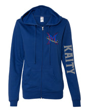 Load image into Gallery viewer, Michigan Elite Gymnastics Academy - Ladies Cobalt Zip Up Hoodie