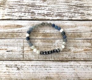 Breathe - blue, grey and white beaded bracelet
