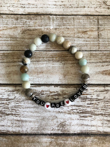 You Are Loved beaded bracelet with lava beads for essential oils