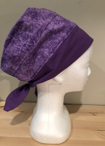 Purple with Flowers and Butterflies - Euro/Turban Style Head Covers/Scrub Cap