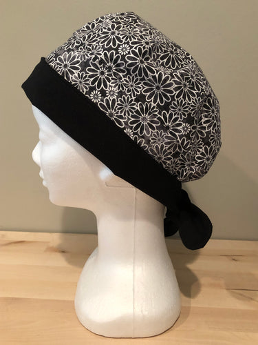 Sundrenched Daisies - Black & White Euro/Turban Style Head Cover/Scrub Cap