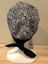Load image into Gallery viewer, Sundrenched Daisies - Black & White Euro/Turban Style Head Cover/Scrub Cap