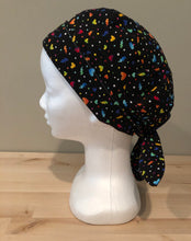 Load image into Gallery viewer, Black with Rainbow Hearts - Scrub Cap for COVID-19 protection