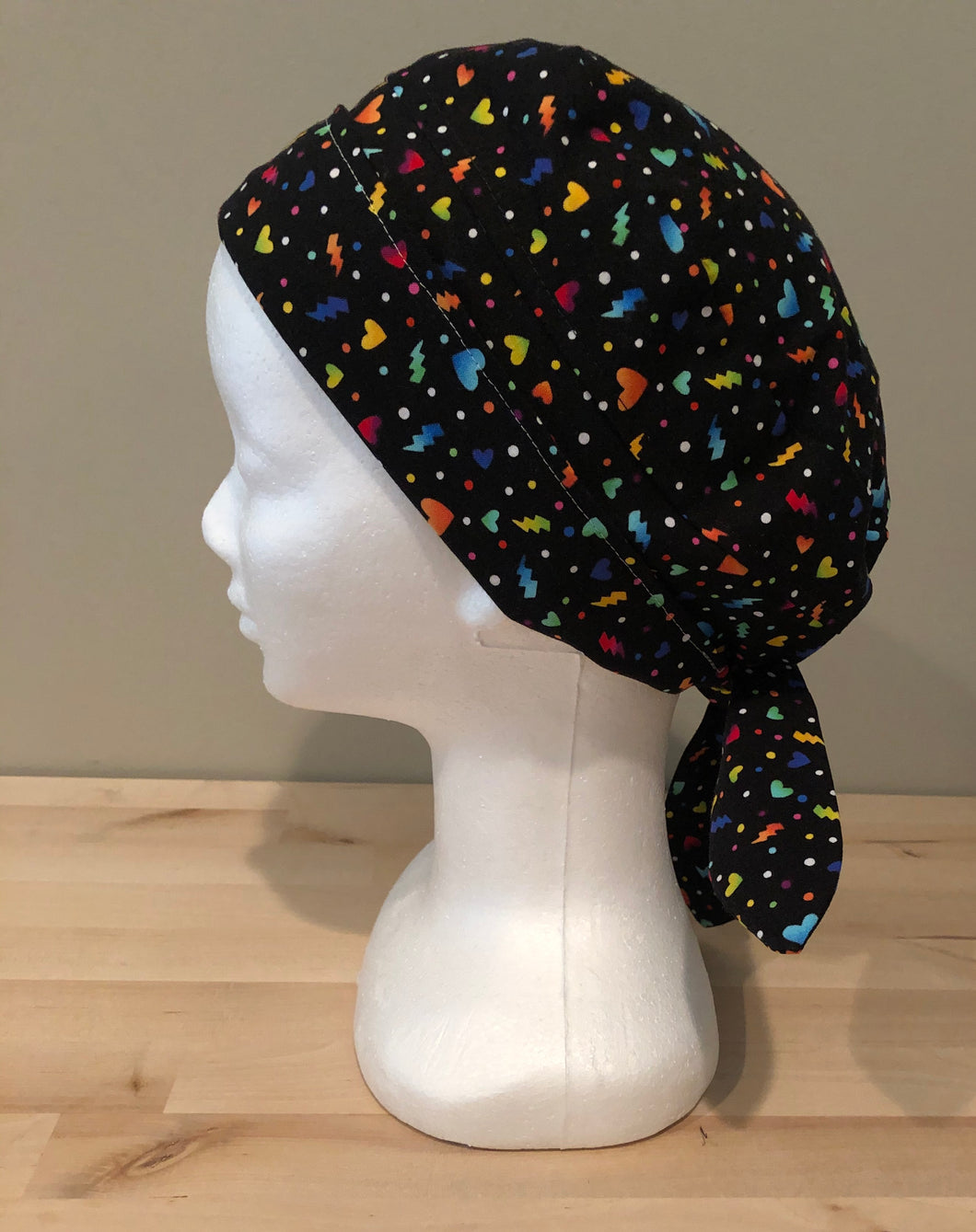 Black with Rainbow Hearts - Scrub Cap for COVID-19 protection