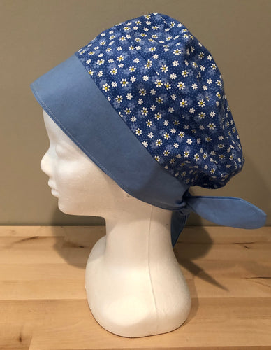 Blue with Small White & Yellow Daises -  Euro/Turban Style Head Covers/Scrub Cap