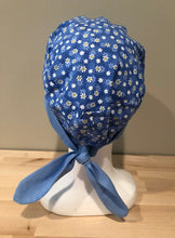 Load image into Gallery viewer, Blue with Small White & Yellow Daises -  Euro/Turban Style Head Covers/Scrub Cap