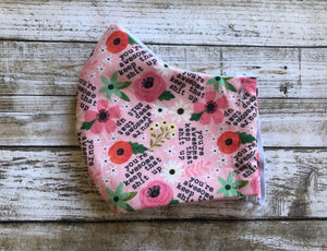 Pink Flowers - You are Awesome - Family Face Covers-3 ply Face Covers