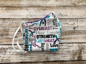 Gymnastics - Purple & Teal - Family Face Covers-3 ply Face Covers