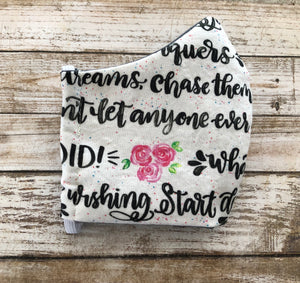 Motivational Saying - with flowers - Family Face Covers-3 ply Face Covers