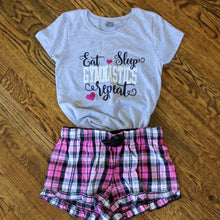 Load image into Gallery viewer, Gymnastics - Eat, Sleep, Repeat Shorts Lounge Set - Pink/Black & Grey Top