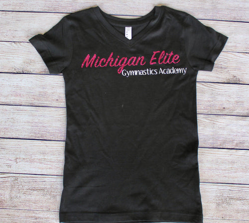 Girls Team VNeck Black Tshirt
