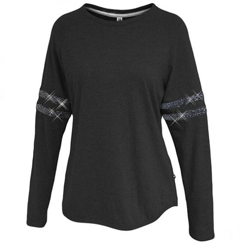 Ladies Sparkle Stripe Long Sleeve Crew