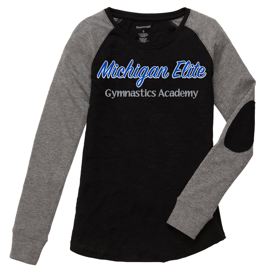 Michigan Elite Gymnastics Academy - Ladies Patch Sleeve Long Sleeve Shirt