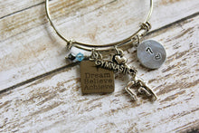 Load image into Gallery viewer, Dream Believe Achieve-Gymnastics Birthstone Bracelet