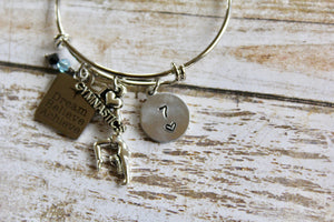 Dream Believe Achieve-Gymnastics Birthstone Bracelet