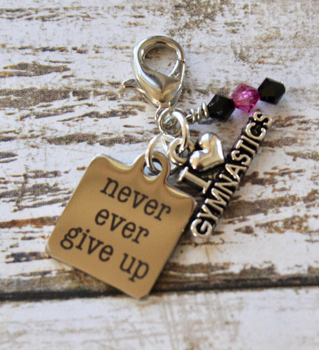 Never Ever Give Up Gymnastics Bag Charm