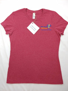 FIT FUN YOUNG WOMEN'S TEE W/ TAPERED SHORT SLEEVES - HEATHERED RED