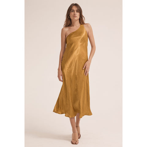 Running Water One Shoulder Bias Slip Dress