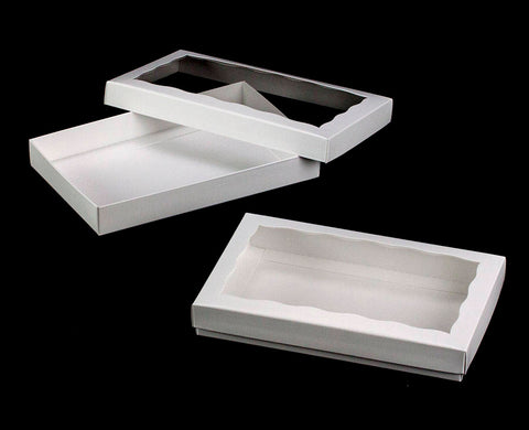 "9 1/2"" x 6"" x 1 1/4"" White/White Two Piece Simplex Box Set, with Window"