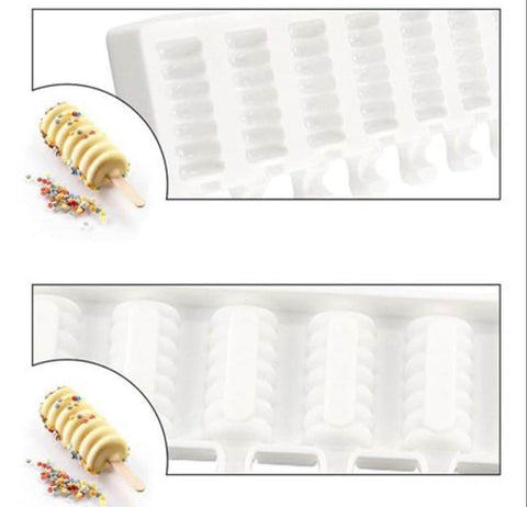 8pcs Mini Cakesicle Spiral Design Silicone Mold