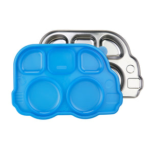 Din Din Smart Stainless Divided Platter + Lid  - Bus - Blue