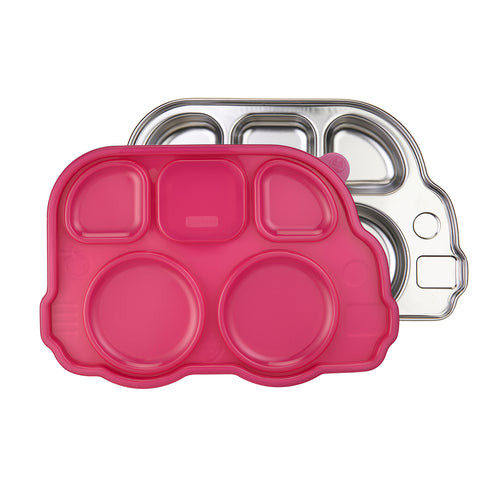 Din Din Smart Stainless Divided Platter + Lid - Bus - Pink