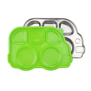 Din Din Smart Stainless Divided Platter + Lid - Bus - Green