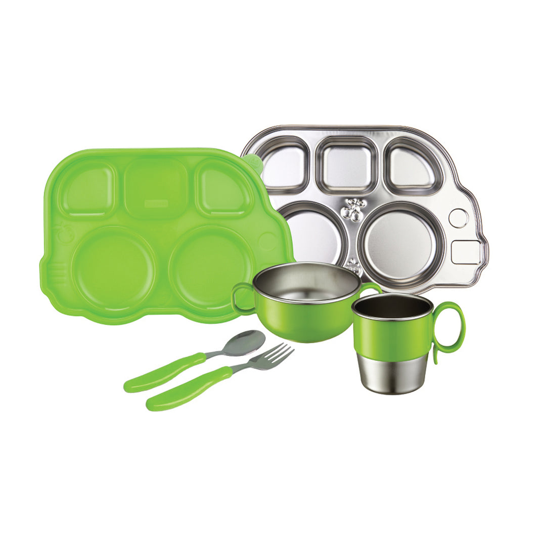Din Din SMART Stainless Mealtime Set - Green