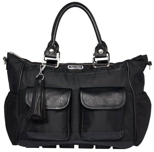 Triple Threat Convertible Nappy Bag - Black Herringbone