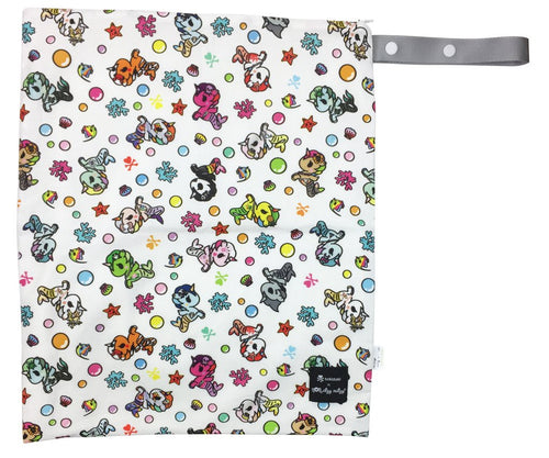 Itzy Ritzy + Tokidoki Travel Happens Large Sealed Wet Bag with Adjustable Handle: MERMICORNO ALLSTARS