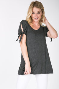 Self Tie Short Sleeve Solid Tunic - tops