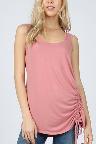 Sleeveless Side Ruched Tunic - tops
