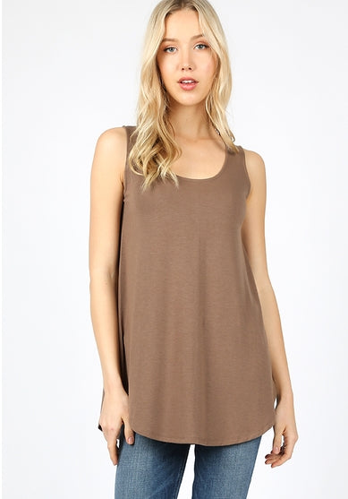 Sleeveless Round Neck Tunic - tops