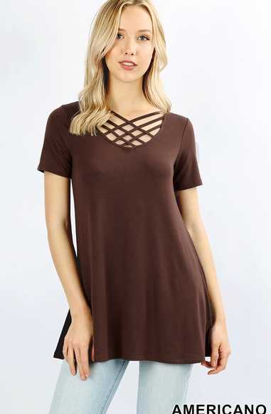 Short Sleeve Caged Front Top - tops