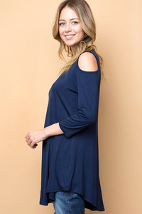 Plus Cross Cross Cold Shoulder Tunic - tops