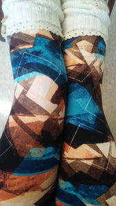 One Size Brown & Teal Abstract Print